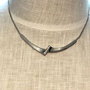 NWT Vintage Stamped Silver Necklace Rhinestone Ctr